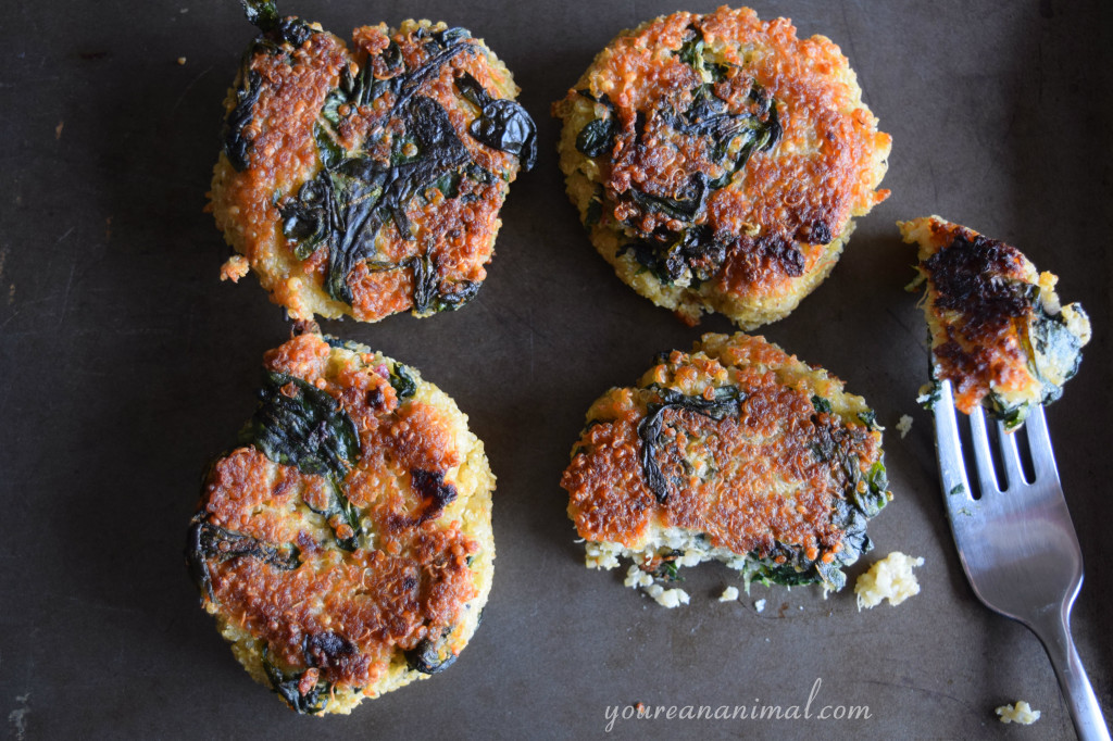 Quinoa and Spinach Patties (Gluten-Free). Perfect as a freezer meal!